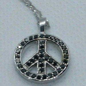 Jewelry - 1/2 Carat GENUINE BLACK DIAMOND PEACE SIGN NECKLAC